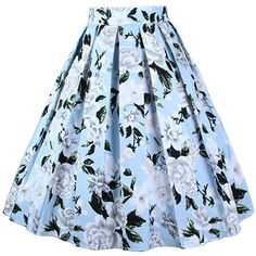 Dressever Women's Vintage A-line Printed Pleated Flared Midi Skirts ($9.99) ❤ liked on Polyvore featuring skirts, blue skirt, blue midi skirt, vintage midi skirt, midi skirt and pleated a line skirt