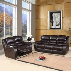 Abbyson Living CH 8801 BRN 3/2 Brownstone Reclining Leather Sofa And