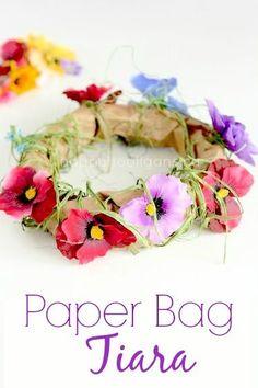 Paper Bag Tiara for a Fairy or Princess – Happy Hooligans - Clown Basteln Spring Crafts For Kids, Summer Crafts, Fun Crafts, Art For Kids, Happy Hooligans, Fairy Crafts, Flower Crafts, Forest Crafts, Paper Bag Flowers