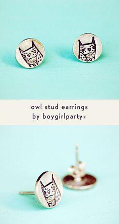 Handmade sterling silver owl earrings from boygirlparty #owl #earrings