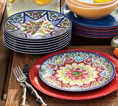 Love these for dinners on the deck,  they are melamine so the kids can't break them!