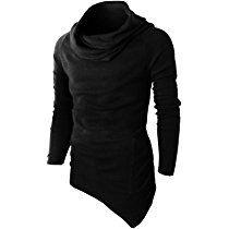 OTW Mens Hoodie Irregular Pullover Solid Longline Autumn Sweatshirt Coat