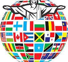Christ Rio  de Janeiro 2016 Rio  World Flags  by Albaley