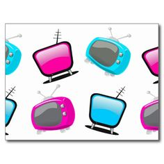 fun neon pink and blue retro television sets seem to scream Hey! Come sit down in front of the tv and see what's on! Colorful, whimsical art notecards, inspired by mid century modern atomic living, to display or send to friends.
