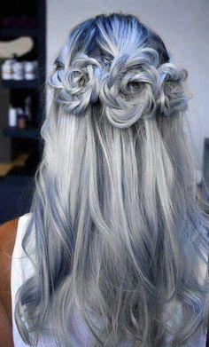 Silver & Blue Hair