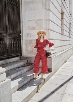 polka dot jumpsuit and straw hat on thescientificbeauty.com