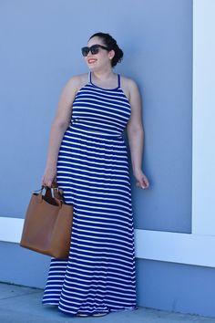 Stripe Maxi Dress from Old Navy via @GirlWithCurves  #sponsored #sayhi #OldNavyStyle