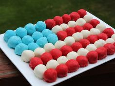 Cake Ball Flag Cake - made this too!  I used white mint on the white stripes and it is YUMMY!  Yes, I had to try one before the cookout.  ;)