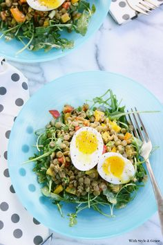 Lentil Vegetable Salad with Soft-Cooked Eggs