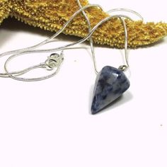 Sodalite Gemstone Pendulum Necklace Blue White Sterling | PinkSunsetJewelryDesigns - Jewelry on ArtFire