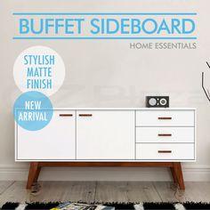 Scandinavian Buffet Sideboard Table Storage Cabinet Retro Cupboard Matt White