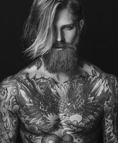 Josh Mario John - full thick blond beard mustache beards bearded man men long hair blonde tattoos tattooed #beardsforever