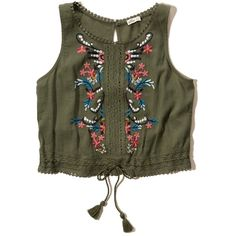 Hollister Cropped Embroidered Peasant Tank (£27) ❤ liked on Polyvore featuring tops, olive, olive green crop top, embroidered top, tassel crop top, keyhole top and crop tank tops