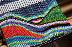 Tapestry style weaving on a rigid heddle loom.