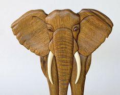 Elefante Intarsia del colgante de pared madera Animal talla madera decoración African Safari hogar decoración