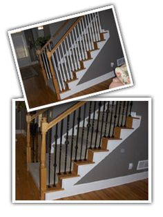 Rod Iron Staircase spindles with stained wooden railing  Half open staricase--open up the stairs