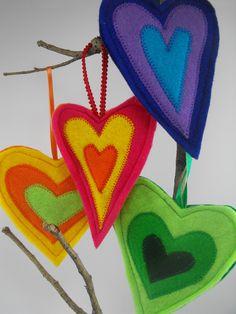 Rainbow Hearts Felt Hanging Decorations