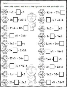 FREE Winter Missing Numbers Worksheet using 2 digit Addition and Subtraction Math Worksheets, Math Resources, Math Activities, Classroom Resources, Addition And Subtraction Worksheets, Second Grade Math, Grade 2, Math Multiplication, Christmas Math