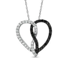 1/2 CT. T.W. Enhanced Black and White Diamond Entwined Heart Pendant in 10K White Gold - Zales