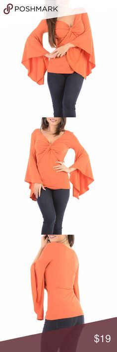 Orange Top Shirt long Flared Sleeves This cute top is made from a lightweight but thick material so there is no show through. Model is wearing a small & the exact same style. Close up shows fabric quality-Color dif is lighting. Brand new with tag! NWT Small=size 2,3,4  Medium= size 5,6,7  Large= size 8,9,10  Fabric designed w/stretch-Fit similar to styles @ Hello Molly, ASOS, Showpo ,Hot Miami Styles, Sabo Skirt , NBD, Lulus ,Tobi, Touch Dolls, Fashion Nova, Forever 21, Nasty Gal c703  Visit…