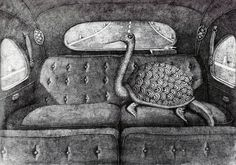 Detail from 'Cigno-taratuga in automobile,' pen & ink drawing by Domenico Gnoli, 1968.