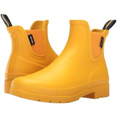 Tretorn Lina (Yellow/Yellow) Women's Boots ($36) ❤ liked on Polyvore featuring shoes, boots, yellow, yellow rain boots, slip on shoes, short heel boots, tretorn boots and tretorn shoes