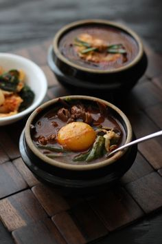 Yukgaejang: Spicy Korean Brisket Soup (plus a big ol' poached egg on top! YES) Korean food is my absolute favorite! Asian Recipes, Beef Recipes, Soup Recipes, Cooking Recipes, Korean Dishes, Korean Food, Korean Beef, K Food, Asian Soup