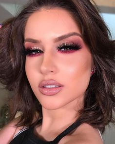 This post contains the best Valentine's day makeup ideas. These makeup looks are terrific. They will definitely add sexiness to your look. Red Makeup, Makeup For Brown Eyes, Glam Makeup, Love Makeup, Makeup Inspo, Bridal Makeup, Makeup Inspiration, Hair Makeup, Amazing Makeup