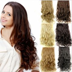 Long wavy 5 clips in extension,black/brown synthetic hair extensions,kanekalon fiber hair perucas