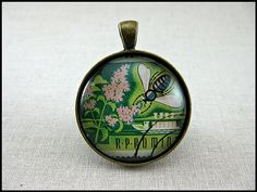 Postage Stamp Pendant / Busy Bee / Romania c. 1963 / by OhThePost, $30.00