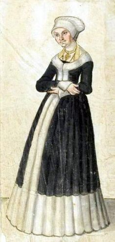 16th Century  One of few dresses that open the full length of the skirt. Lucas Cranach the Elder, Barbara, Duchess of Saxony, 1500 This is either after Cranach, or the sketch prior to the painting which is only hip length.