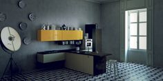 Milano. Open Collection. Living the contemporary. Design by Prospero Rasulo. #design #kitchen #yellow #original