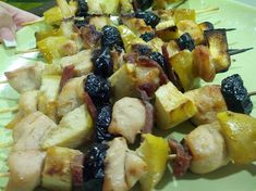 saslik with chicken breast, apple and dried plum Dried Plums, Fruit Salad, Breast, Keto, Apple, Chicken, Kitchen, Food, Apple Fruit