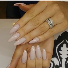 Beige stiletto nails