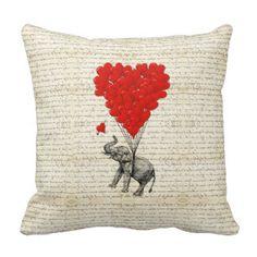 Romantic elephant & heart balloons throw pillow