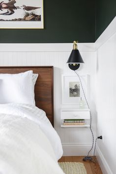 A very green bedroom Oasis with and Yellow Brick Home as a part of the 2018 -- dark green walls beadboard neutral bedding vintage guest room ideas green bedroom dark green bedroom Bedroom Green, Green Rooms, Bedroom Bed, Master Bedroom, Bedrooms, Beach Bedding Sets, Comforter Sets, Dark Green Walls, Neutral Bedding