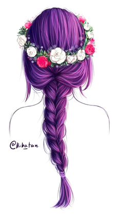 """I colored the """"flower crown"""" hair sketch!! It was really fun and I learned a lot I love the color purple ; v ; it fits my OC Arisu so well ^^ Done in 2.5 hours :3"""
