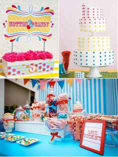 this is the perfect theme for the bridal shower, bright colors, polka dots (cuz it all started with the polka dot dress) and vintage carnival! Carnival Wedding, Carnival Birthday Parties, Vintage Carnival, Circus Party, Party Planning, Wedding Planning, Carnival Themes, Lolly Buffet, Candy Buffet