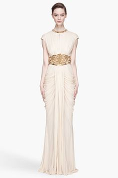 ALEXANDER MCQUEEN Campagne and gold embroidered draping gown