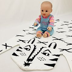 Multifunction Baby BlanketWrapsInfant Bed BlanketPlay matCrawling Pad For Infant&Toddler (Tiger 113X68CM)