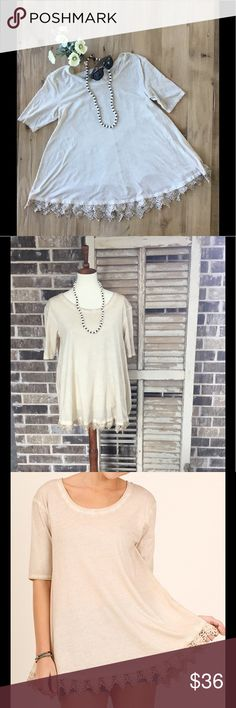 Crochet Trim Detail Top with Half Sleeve This taupe top is made out of a comfortable 60% cotton and 40% polyester. Crochet lace at bottom adds to the beauty of this top. Umgee Tops