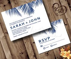 Simple design - just put in RED with your names in apricot or something?  Printable Palm Frond Wedding Invitation Set Beach Destination Tropical Hawaii Bridal Engagement RSVP Custom Navy Blue Sea Modern Simple