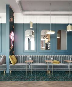 54 Ideas Art Deco Interior Cafe Restaurant Design For 2019 Cafe Seating, Banquette Seating, Lounge Seating, Banquette Restaurant, Restaurant Seating, Design Bar Restaurant, Deco Restaurant, Restaurant Plan, Restaurant Lighting