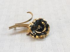 1960s Vintage Gold Tone and Black Rose Brooch by MyVintageHatShop