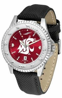 """Washington State Cougars NCAA Anochrome """"Competitor"""" Mens Watch (Poly/Leather Band) SunTime. $79.95. Rotating Bezel. Calendar Date Function. Color Coordinated"""