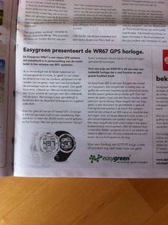 De Nederlandse Golfkrant nr.3 pag. 13. € 239,-. Schrijft lovend over het het EASYGREEN WR67 GPS Golfhorlge.