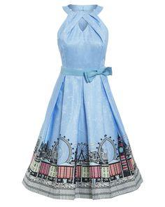 'Cherel' Blue London Print Swing Dress - New In