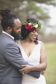 Bohemian Williamsburg Wedding | Marsala, pink, and white wedding | Boho floral crown