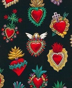 Felt Ideas - Used the example of the heart at bottom right to make a felt ornament for a friend from Mexico oxcana style mexican folk art sacred alter hearts fabric applique embroidery design ideas Mexican Fabric, Mexican Folk Art, Tin Art, Mexican Designs, Tatoo Art, Heart Art, Religious Art, Kitsch, Art Projects