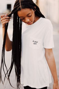 Brandy ♥ Melville | Ieva F*ck Off Embroidery Top - Graphics